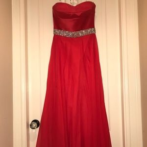 Sherri Hill Strapless Satin Gown in Red